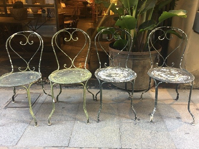 4 sillas hierro jardín antrazita